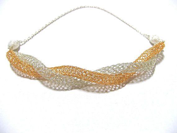 Handmade necklace/bracelet Wire crochet bangle Mesh necklace ...