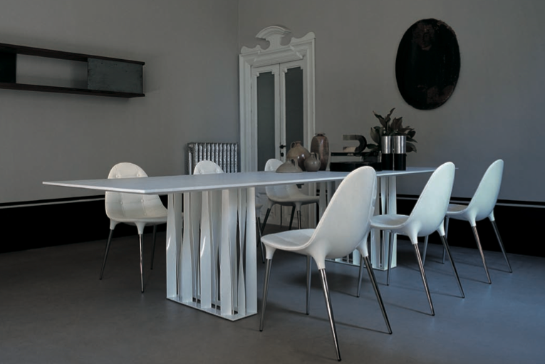 Cassina installation caprice chairs by philippe stark for Caprice marble dining table