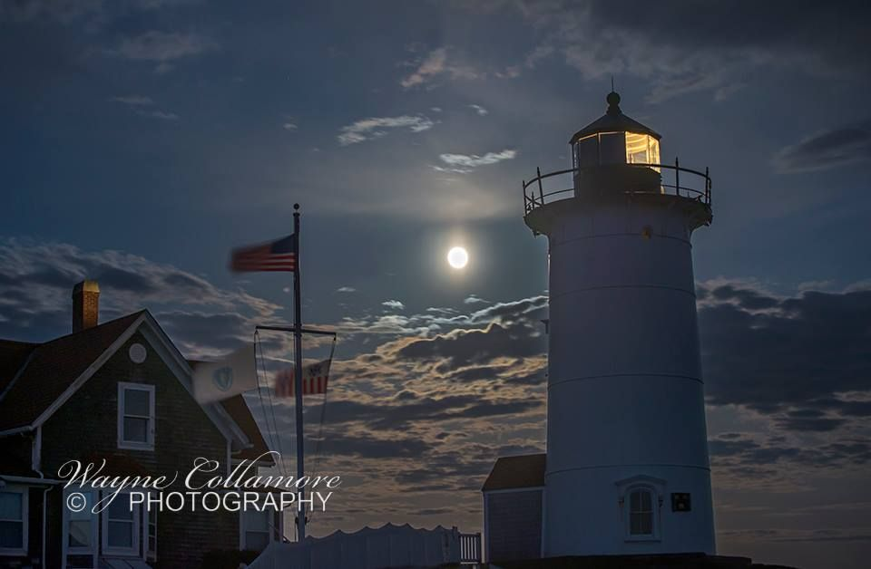 Full moon rising behind Nobska #Lighthouse in Woods Hole, #ME. By Wayne Collamore Photography