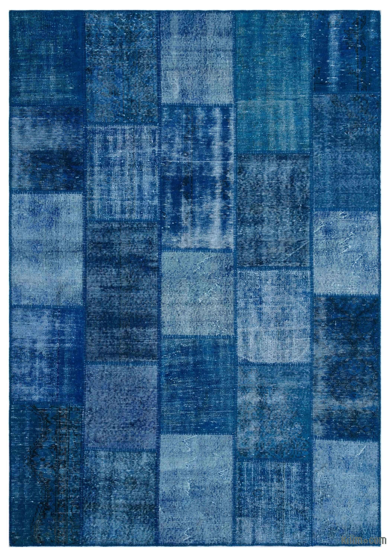 Blue Over Dyed Turkish Patchwork Rug