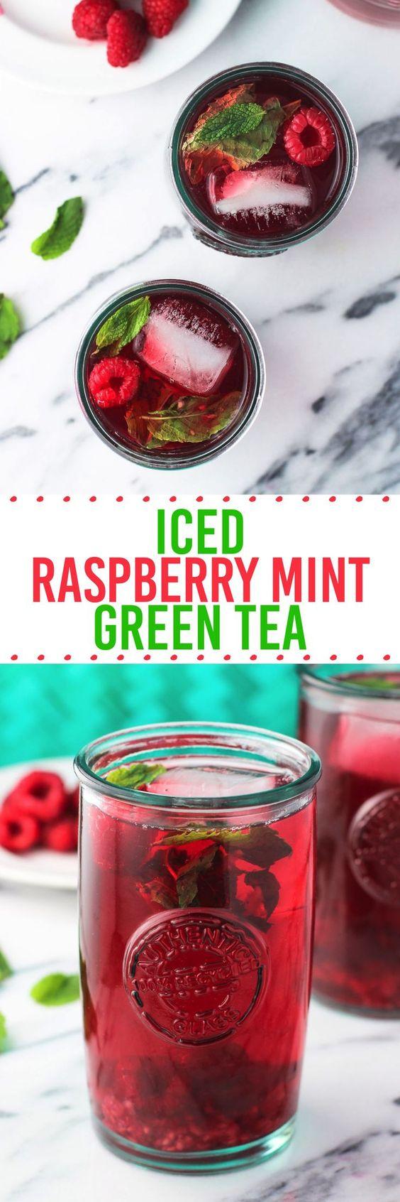 Iced Raspberry Mint Green Tea - an easy, fruity iced tea recipe with no sweetener needed! ad