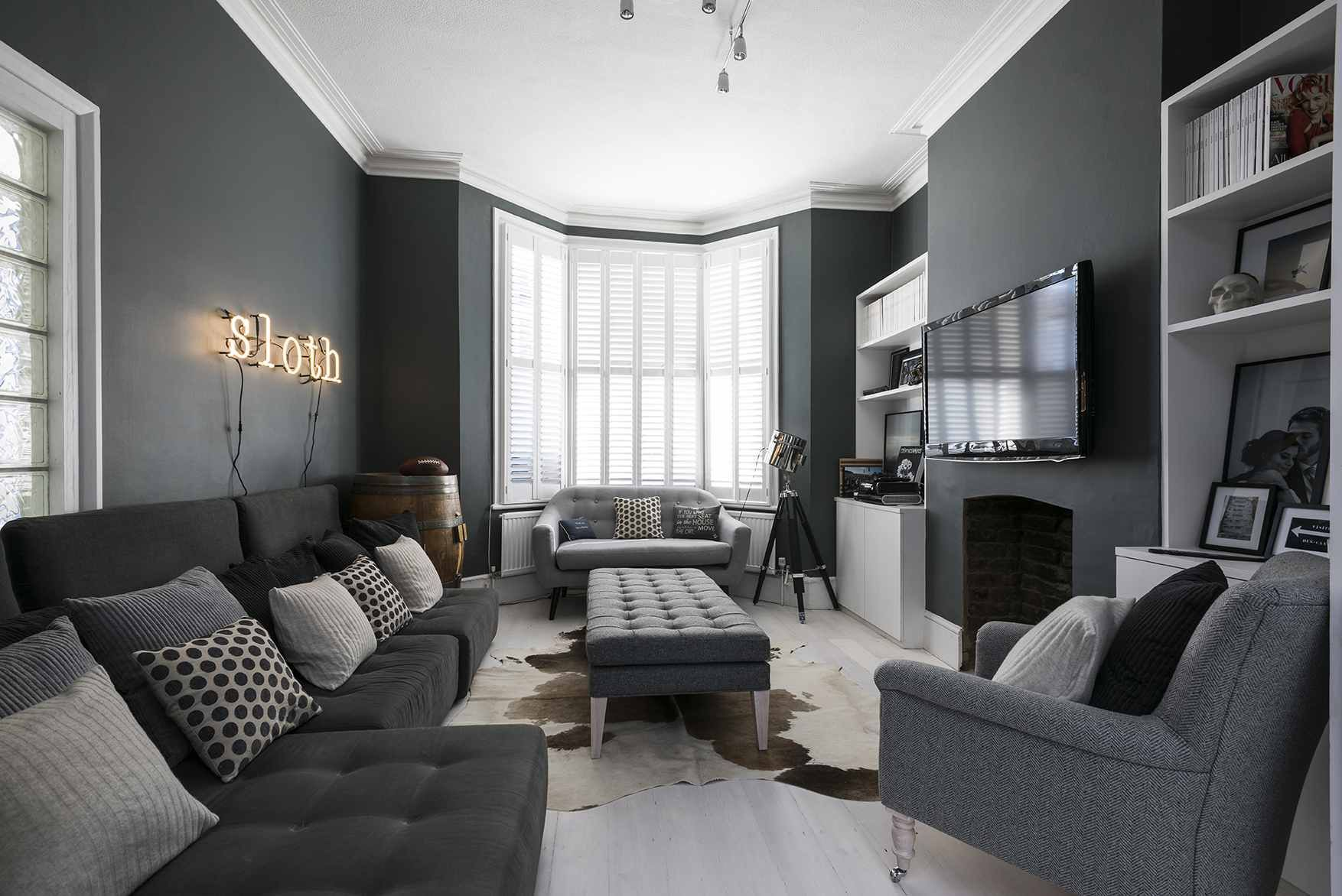 Grey Living Room Ideas To Channel Your Experimentation Dark Grey Living Room Dark Living Rooms Grey Walls Living Room