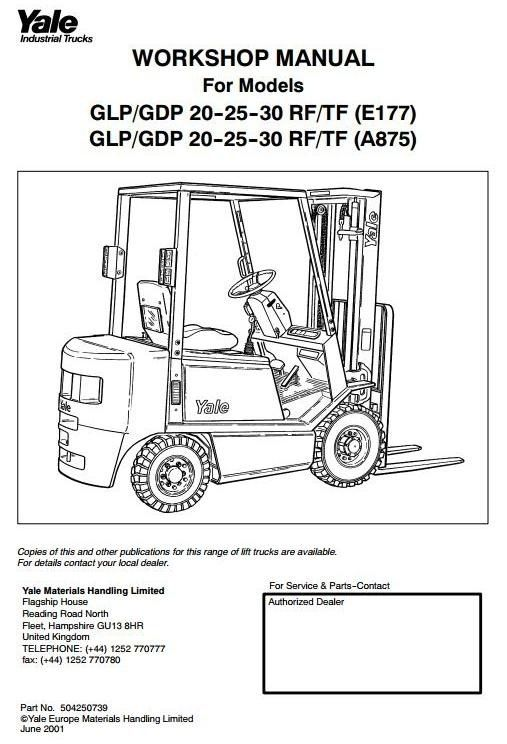 Original Illustrated Factory Workshop Service Manual for Yale Diesel/LPG Forkift Truck E177 Series.Original factory manuals for Yale Forklift Trucks, contains high quality images, circuit diagrams and instructions to help you to operate and repair your truck. All Manuals Printable and contains Searc