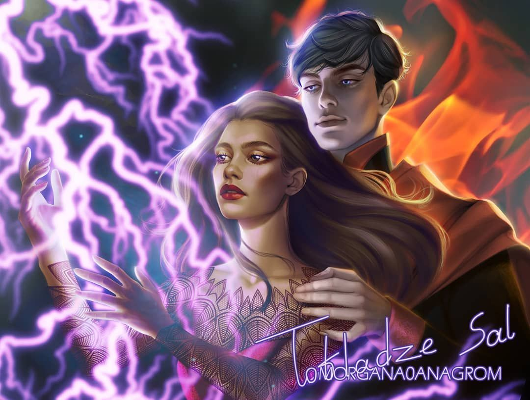 """Salome Totladze on Instagram: """"Hello guys, I am posting this artwork I did for @noshelfcontrolbookbox characters are Mare Barrow and Maven Calore from Red Queen book…"""""""