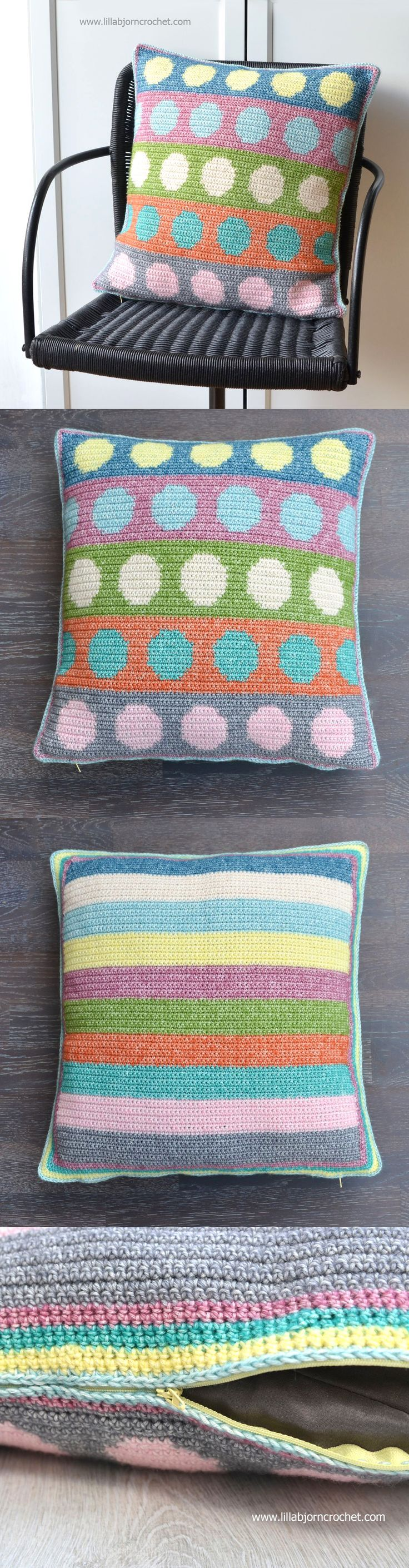 Tapestry Circles Pillow: free crochet pattern | Häkeln, Stricken und ...
