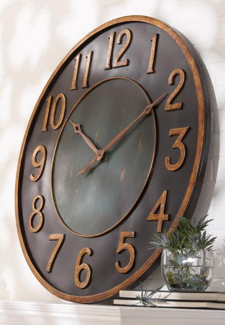 Oversized Clock Aged Brass Oversized Wall Clock Big Wall Clocks Wall Clock