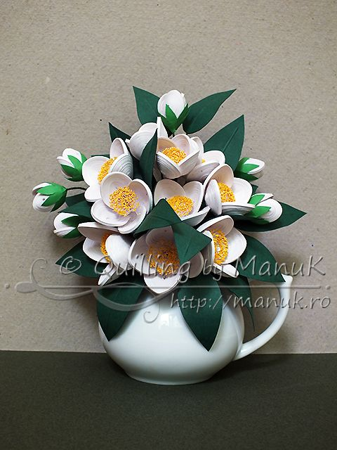 Quilled Jasmine Flowers Bouquet in a Vase - A Cluster of Fragrant ...