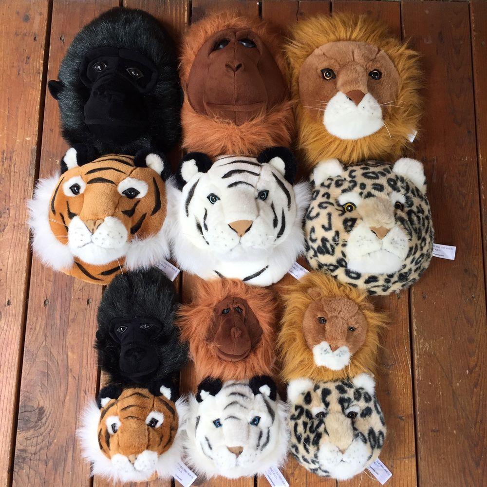 Beverly Hills Teddy Bear Co Wall Mount Plush Animal Heads Decor