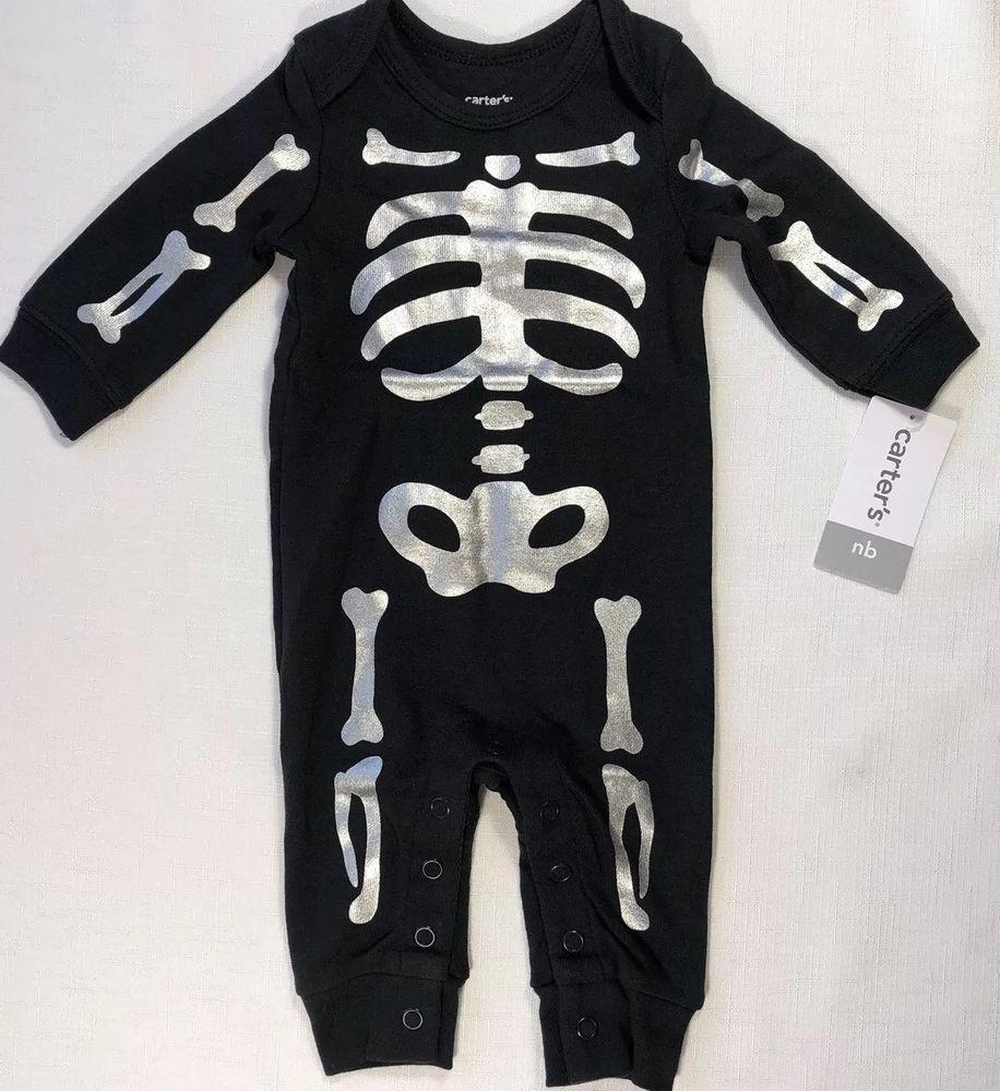 b8a00e1d4a57 Carters NB Newborn Baby Boy Girl Halloween Skeleton Pajama Sleeper ...