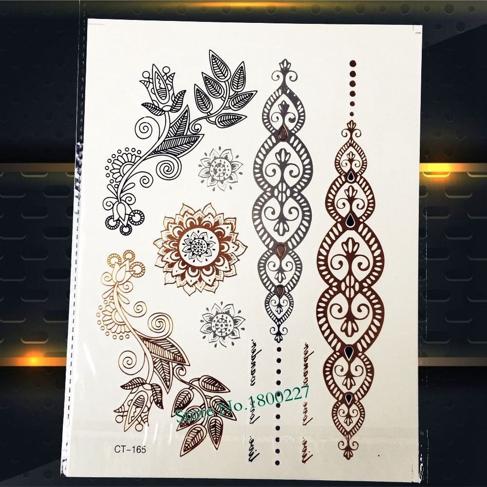Pc hot sale henna gold flower temporary tattoo large size