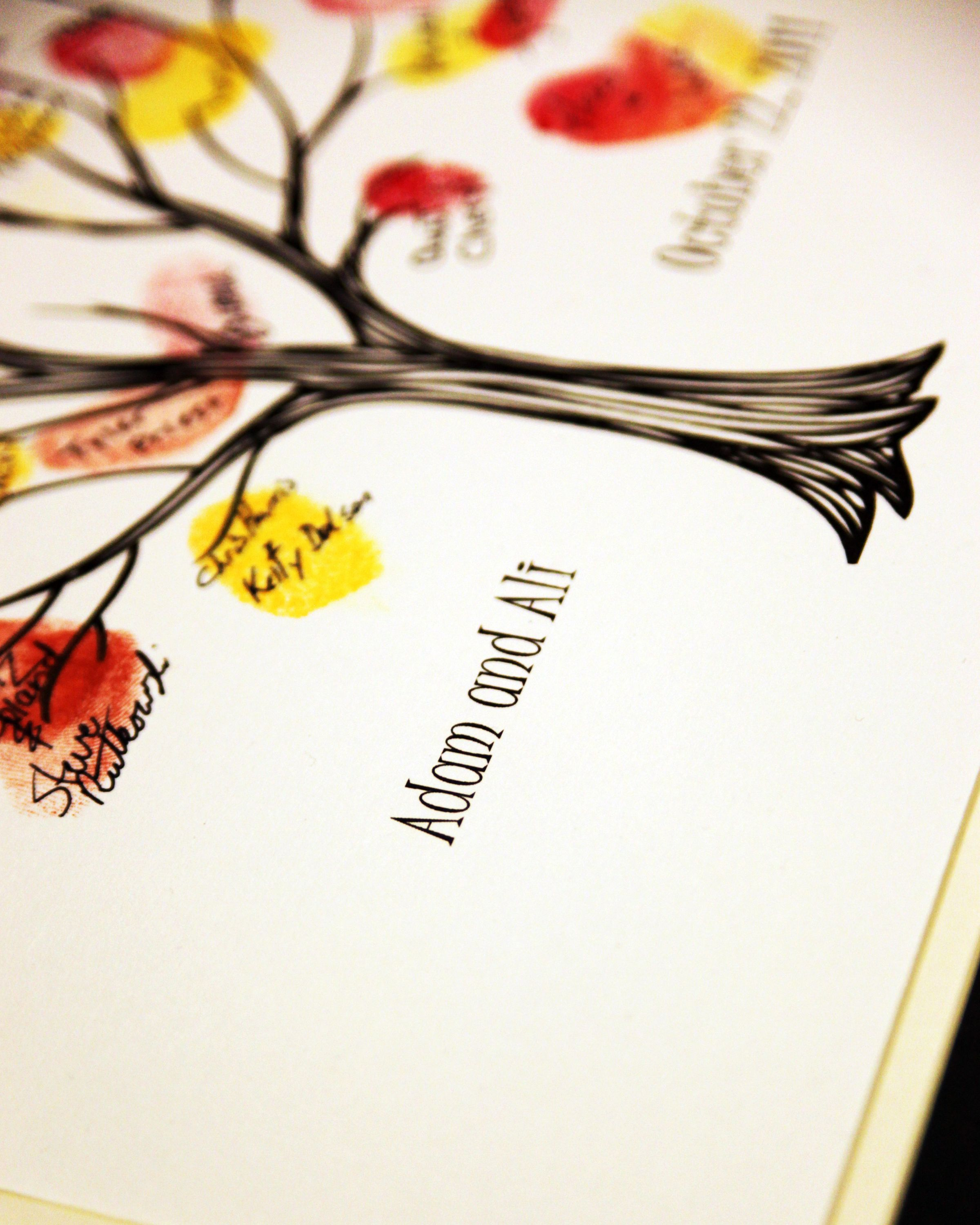 Fall-themed wedding guest books - thumbprint tree with yellow, red ...