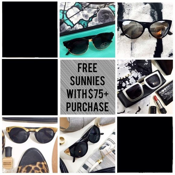 Limited Time: Free Sunnies W/ $75 Purchase For a limited time, get a pair of sunnies with your purchase of $75 or more. Just let me know which ones you'd like from this listing and I'll include them in your package. All sunnies are NWOT. Offer applies only to sunglasses pictured in this listing. Accessories Sunglasses