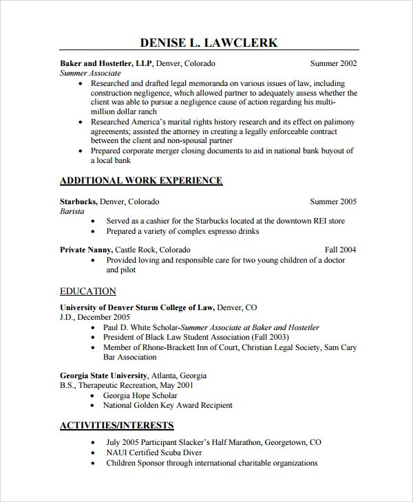 sample nanny resume template free documents download pdf word for - sample law student resume