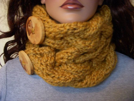 Marigold Cable Cowl Golden Large Chunky Wool Neck by shelby1998, $44.00