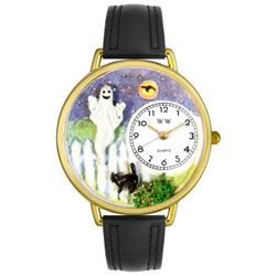 Halloween Ghost Black Skin Leather And Goldtone Watch #G1220032 - http://www.artistic-watches.com/2012/12/09/halloween-ghost-black-skin-leather-and-goldtone-watch-g1220032/