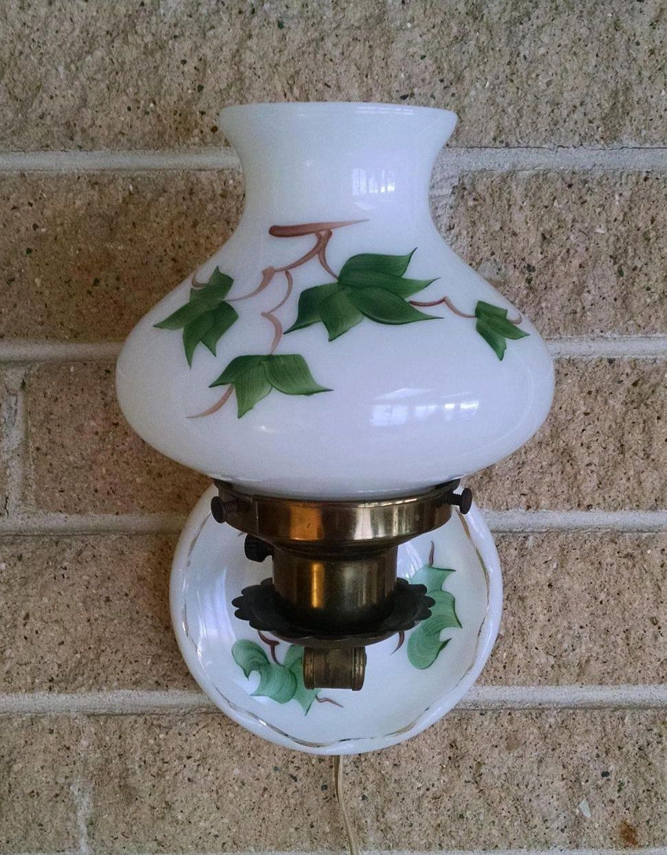 Milk Glass Hurricane Table Lamp Or Wall Lamp With Hand Painted