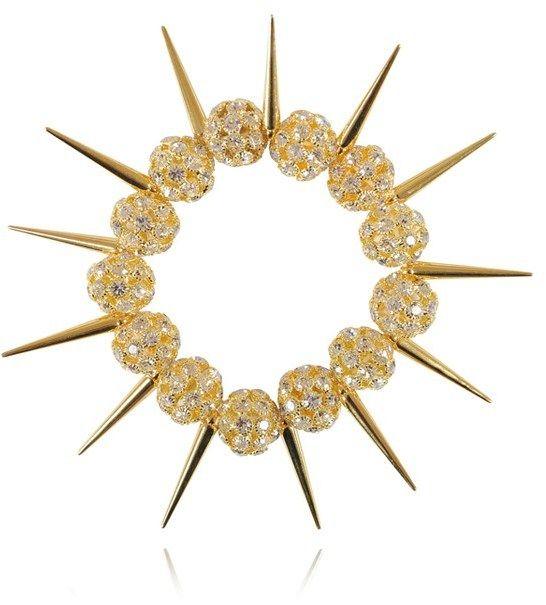'Rockstar Spike' Gold Crystal Pave Bracelet-SALE