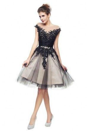 cfa3b27b0e8 Illusion Neckline Knee Length Tulle Cap Sleeve Prom Dress with Appliques  WNPD0208