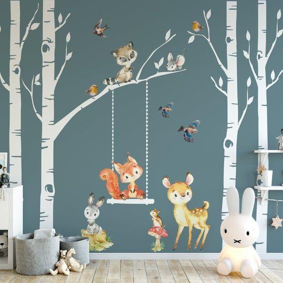 Woodland Nursery Decor 4 Birch Trees Forest Animals Fox Deer Raccoon Bunny Wall Decal Neutral Boy Gi