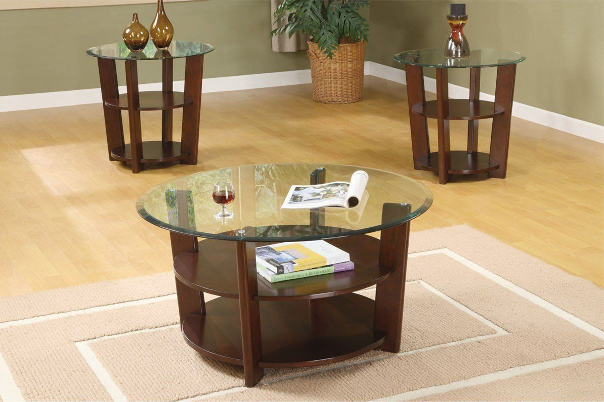 Poundex F3108 3 Pcs Coffee Table Set Coffee Table End Table Set Round Coffee Table Modern Rustic Coffee Tables