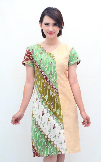 Grosir maxi dress batik kombinasi