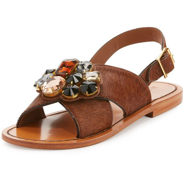 55734a5f1ca2 Marni Jeweled Calf Hair Crisscross Sandal (8.470.800 IDR) ❤ liked on  Polyvore