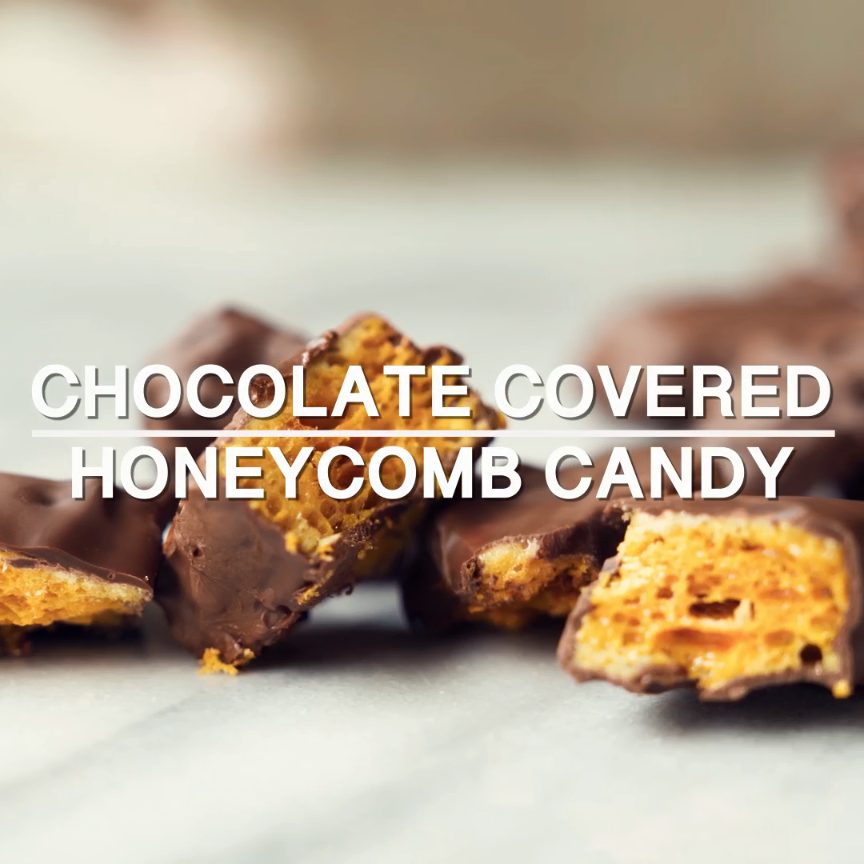 Chocolate Covered Honeycomb Candy   KitchMe is part of Chocolate candy recipes - Recipe including course(s) Dessert; and ingredients baking soda, chocolate chips, honey, light corn syrup, sugar, vanilla extract, vegetable shortening, water