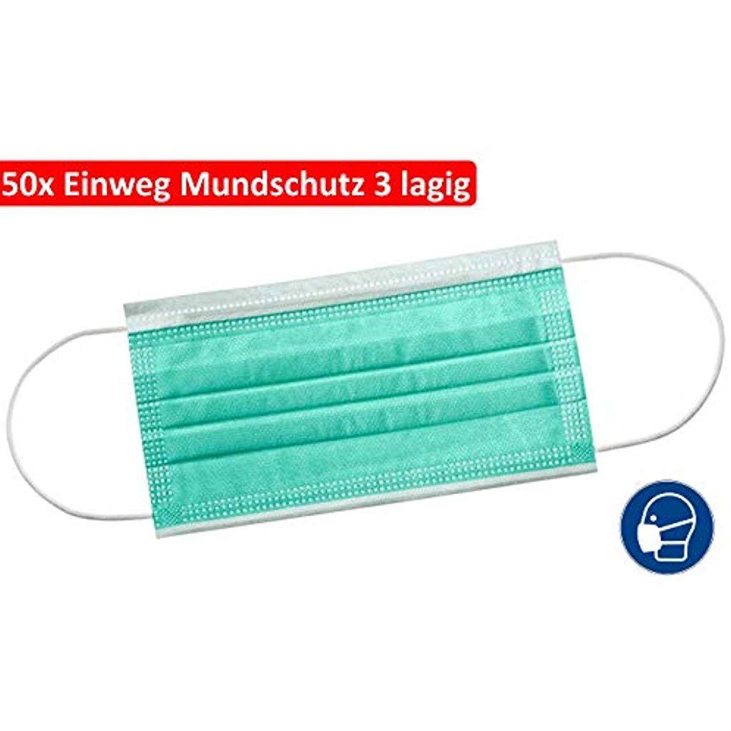 Surgmask 50x Mundschutz 3 Lagig Latexfrei Atemschutz Einweg Op
