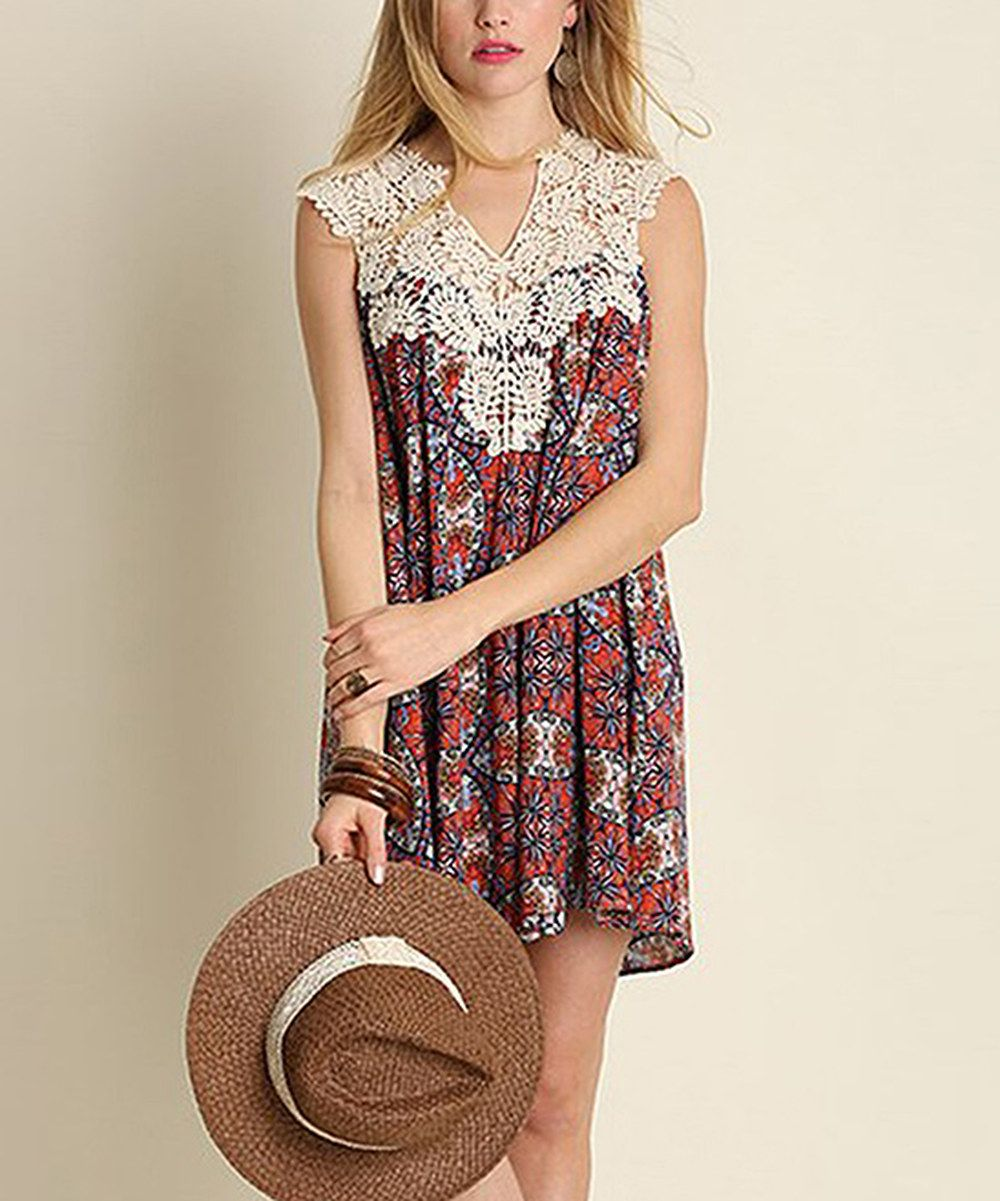 5fe019a26e Look at this JDF Designs Coral & Navy Arabesque Lace-Yoke Shift Dress on  #zulily today!