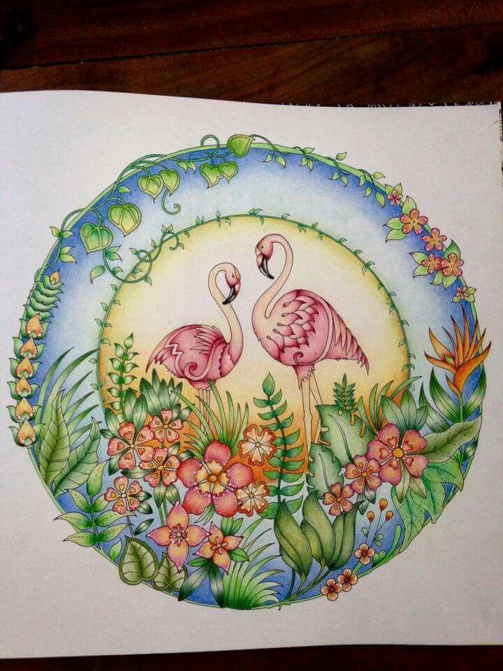 Pin By Christina H On J Basford Flamingos Magical Jungle Johanna Basford Coloring Books Johanna Basford Coloring Book