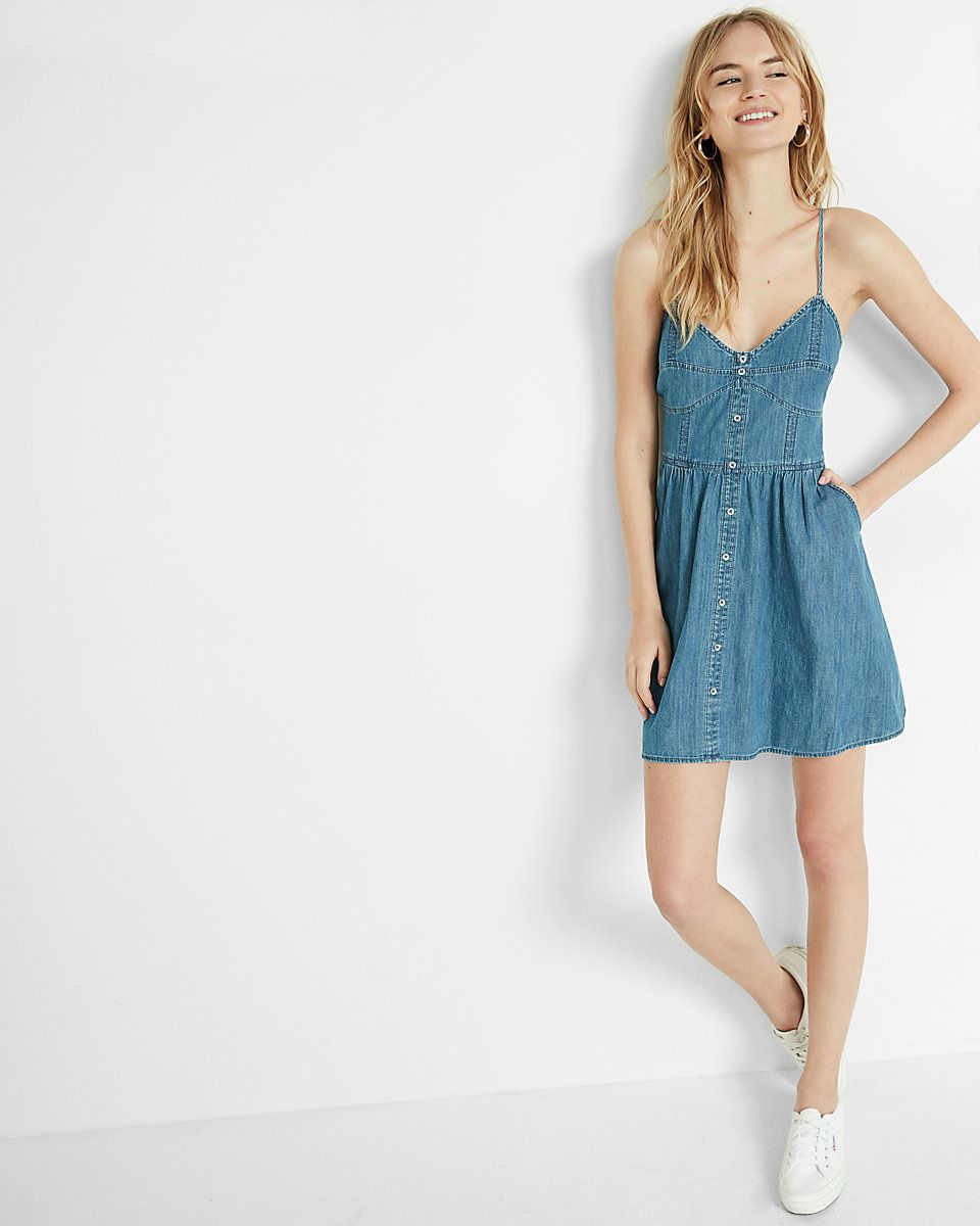 Button front denim cami dress | Teens clothes, Express dresses and ...