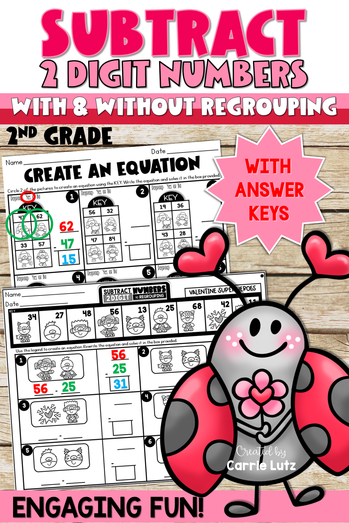 Valentine S Day 2 Digit Subtraction With And Without