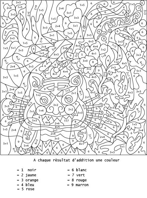 Coloriage Numerote Et Addition Additionner Pour Colorier