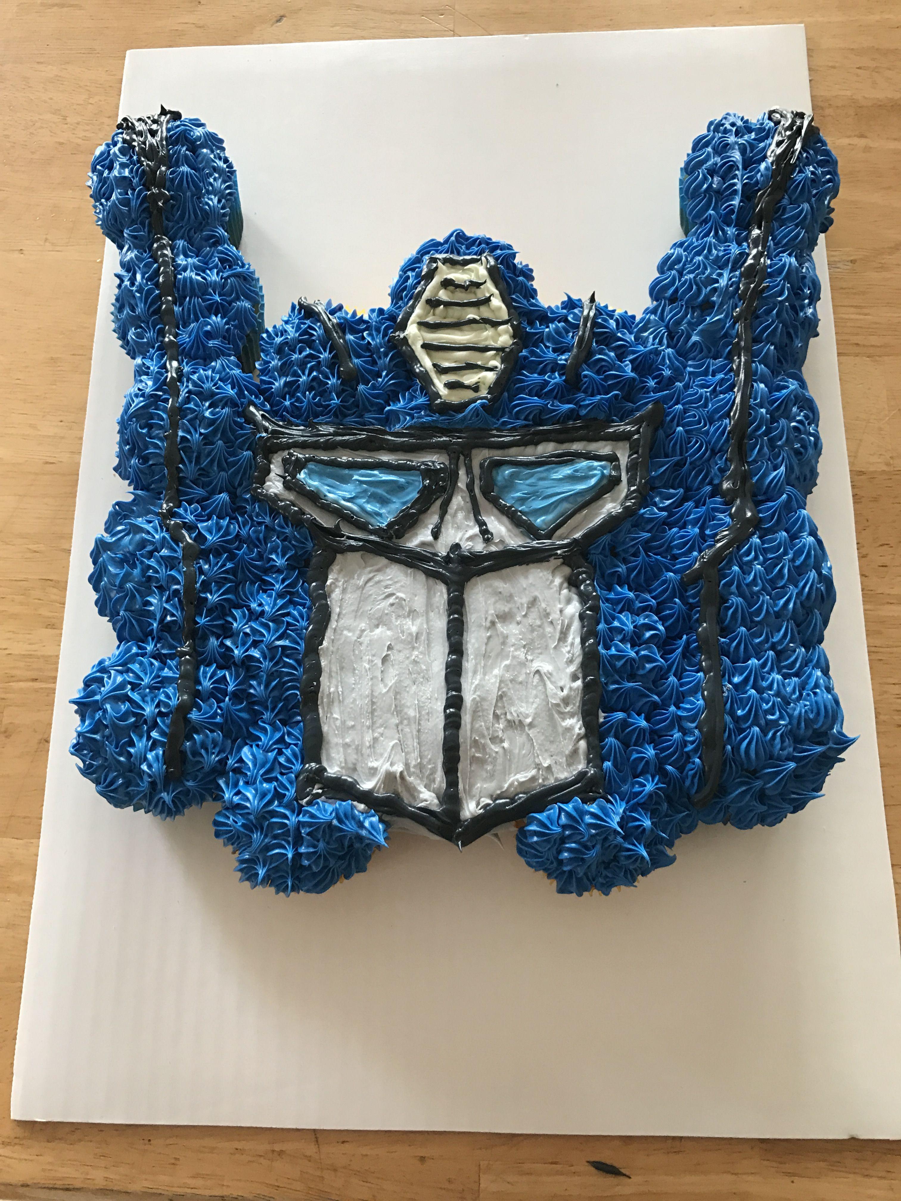 Optimus Prime Pullapart Cupcake Cake Transformers