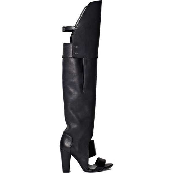 3.1 Phillip Lim Black Ora Over The Knee Boot Sandal (3.120 BRL) ❤ liked on Polyvore featuring shoes, boots, black, leather sole shoes, genuine leather shoes, leather footwear, 3.1 phillip lim shoes and real leather shoes