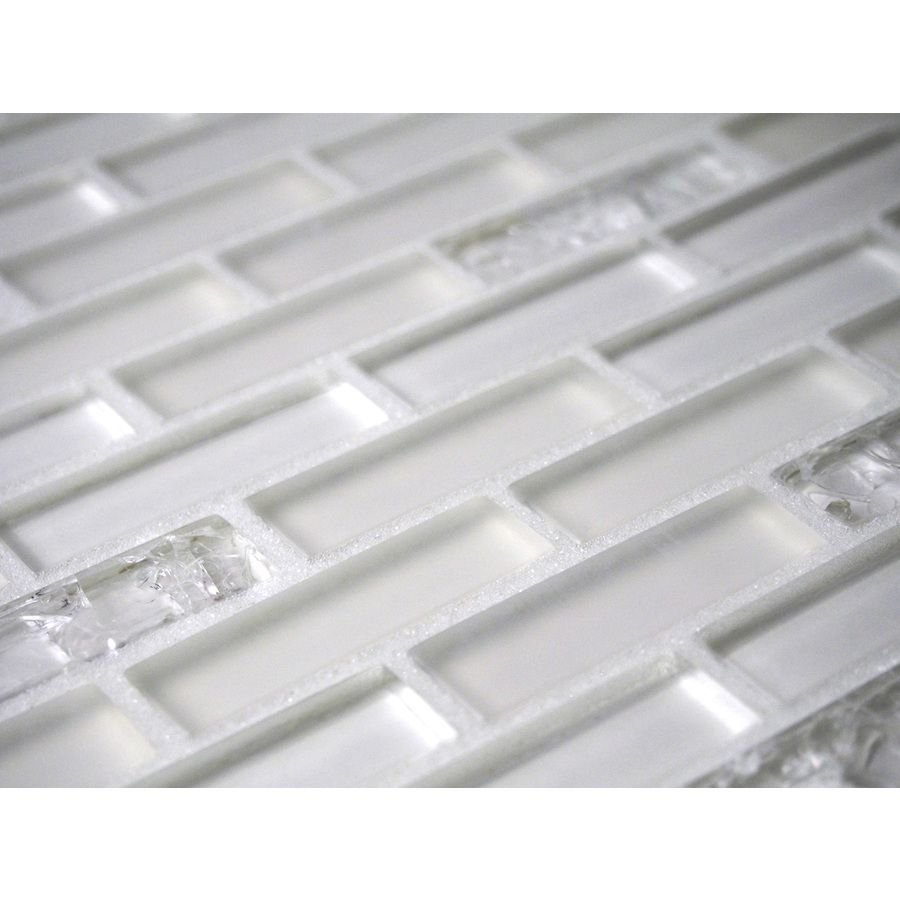 Shop GBI Tile & Stone Inc. Gemstone White Subway Mosaic Glass Wall ...