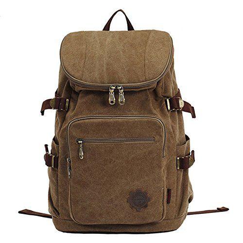 KAUKKO Vintage Canvas Laptop Backpack School Daypack Hiking Knapsack Khaki >>> Click image for more details. (Note:Amazon affiliate link)
