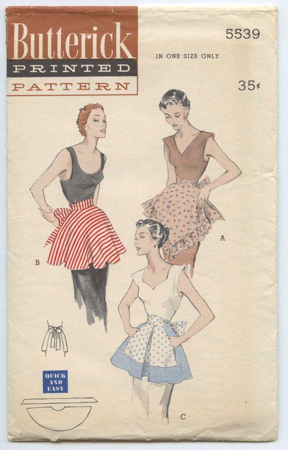 1950s Butterick 5539 Half Apron Bias Cut, Ruffles, Pockets Vintage ...