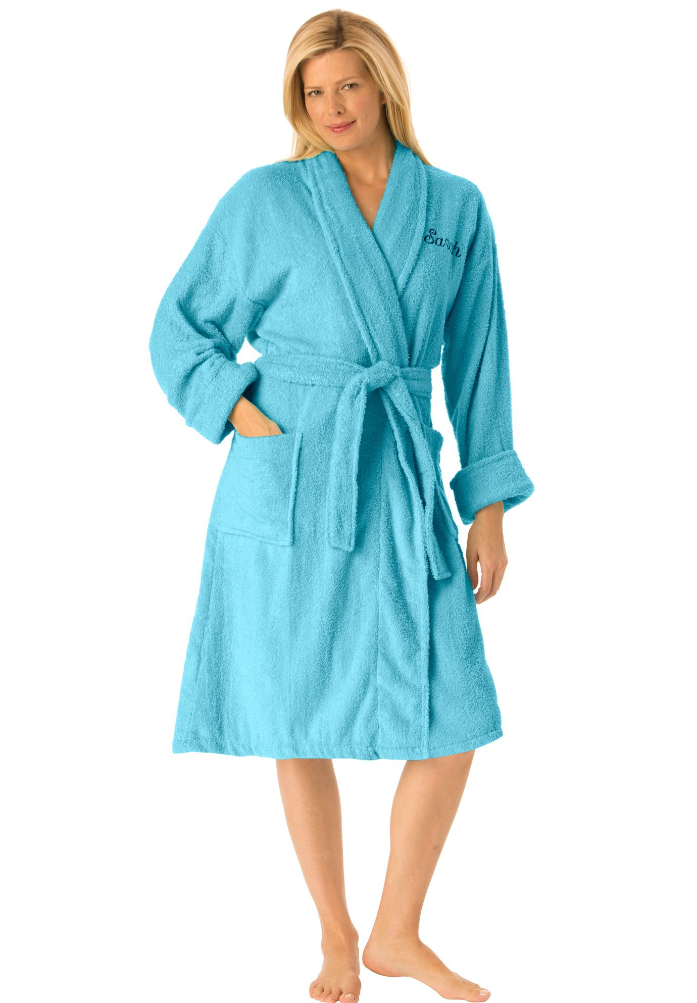 5bc71f353d Personalized short terry wrap robe with free slippers. This short terry robe  has a pretty