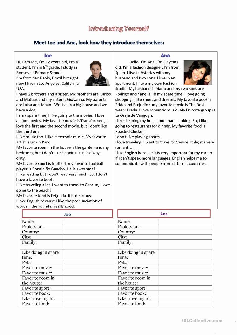 Introducing Yourself Worksheet for Kindergarten Pdf in