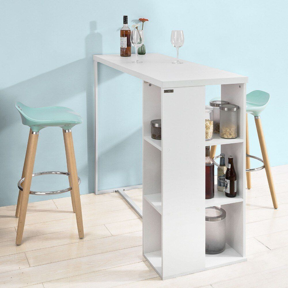 Table Haute Avec Rangement sobuy fwt39-w, kitchen breakfast bar table dining table