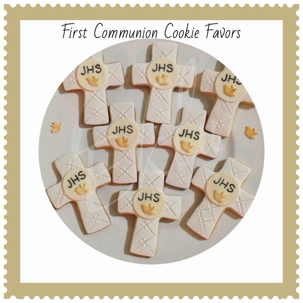 First Communion Cookie Favors! #firstcommunion #boy #white #jhs #dove #gold #eklu #delicious #cookies