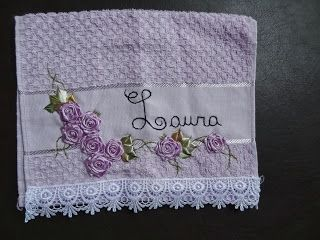 LOY HANDCRAFTS, TOWELS EMBROYDERED WITH SATIN RIBBON ROSES: TOALHA PERSONALISADA