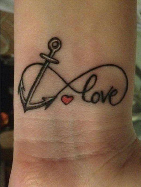 Infinito Formado Con Ancla Y Love Con Un Corazon Tatuaje