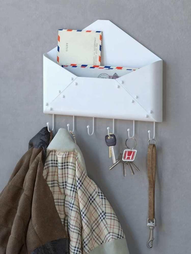 Wall Mount Mail Letter Rack Holder Key Hook Coat Organizer Envelope Steel White #Fasthomegoods