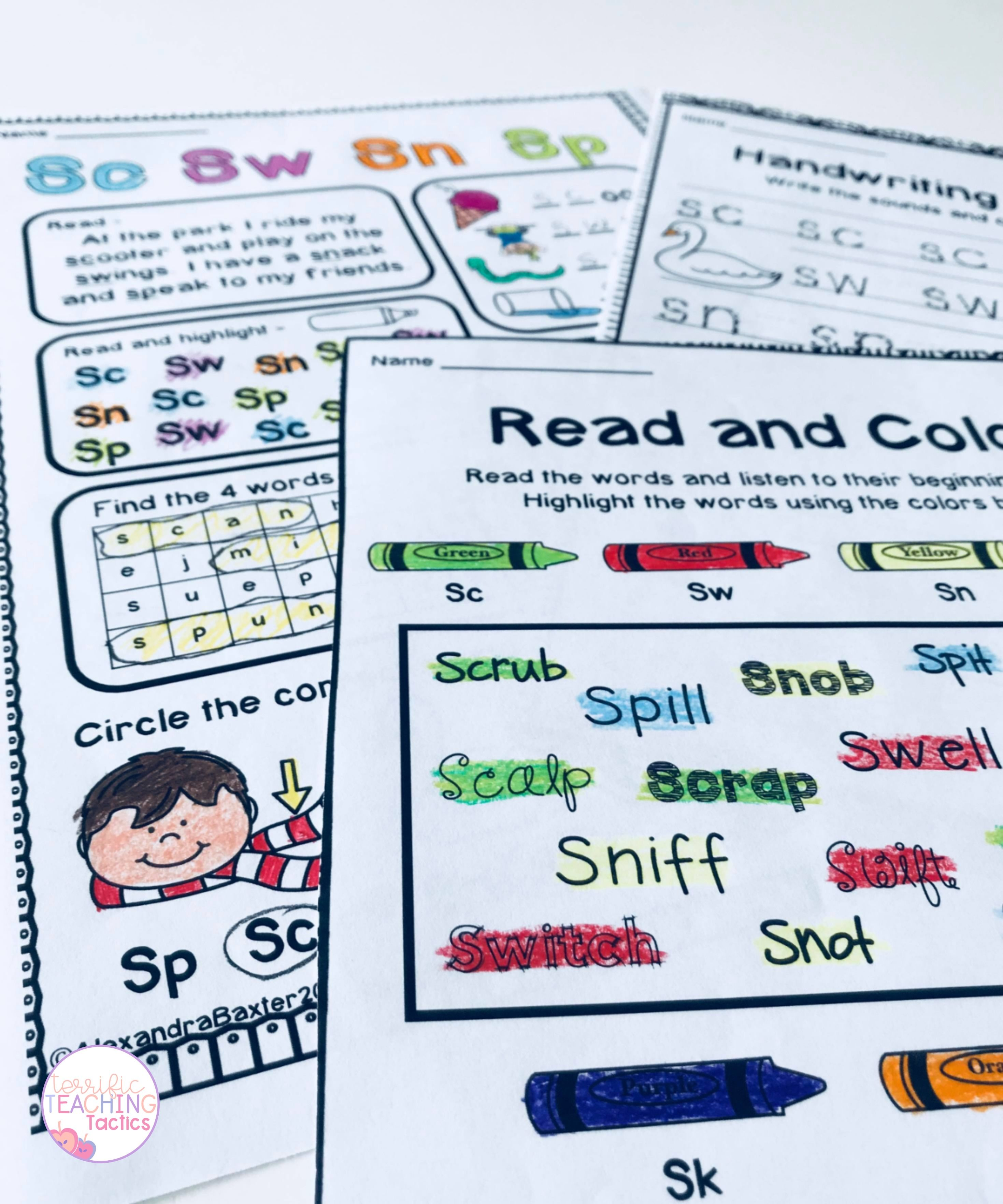 S Blends Phonics Worksheets In