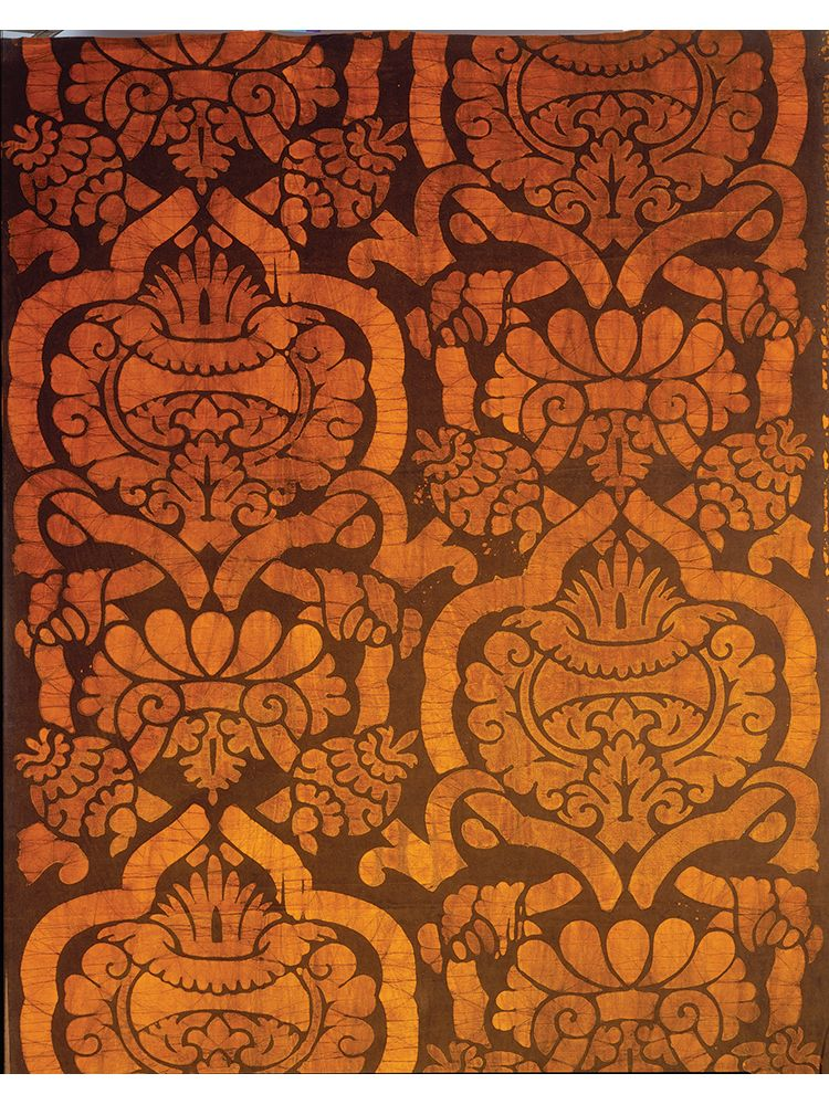 jack Lenor Larsen, Conquistador, 1966. Larsen's fabrics skillfully blend global and historical references. Conquistador is how he imagined an Inca designer would handle a baroque motif.