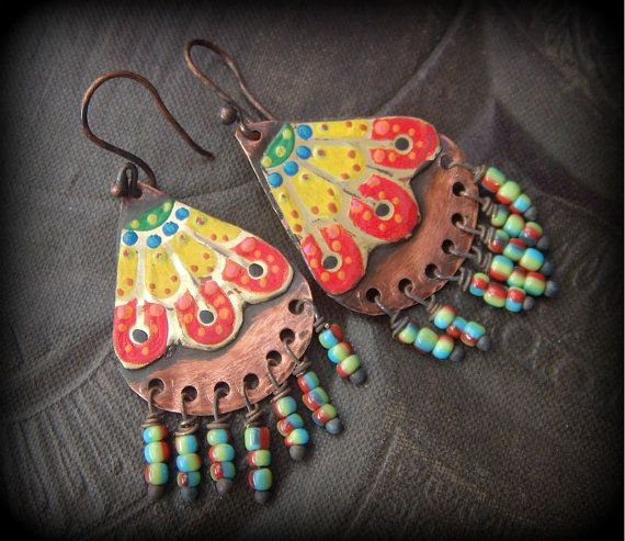 Vibrant Hand Painted Tin Copper Glass Fringe Beaded by YuccaBloom