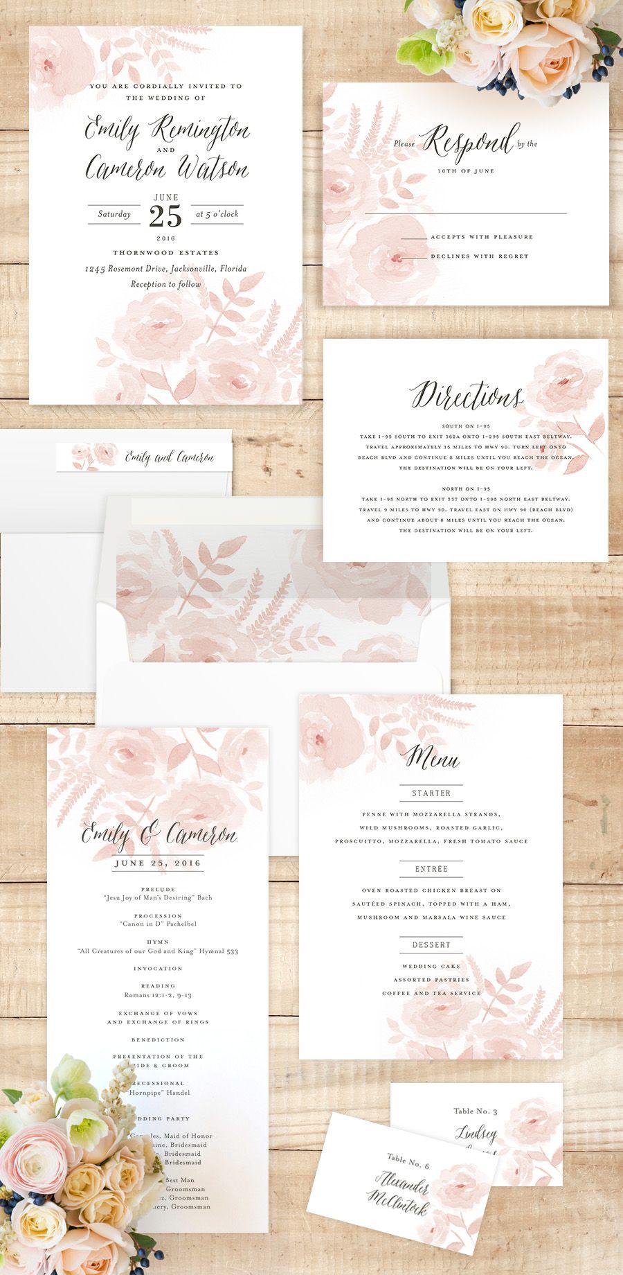 20 popular wedding invitation wording diy templates ideas delicate watercolor wedding florals invitations for a spring or summer garden wedding by jill means stopboris Images