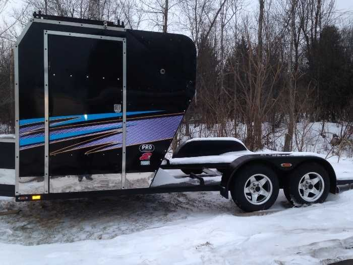 Tire Shop Open Late >> Professionally built custom open trailer for sale. Has large walk in box, with built in tool box ...